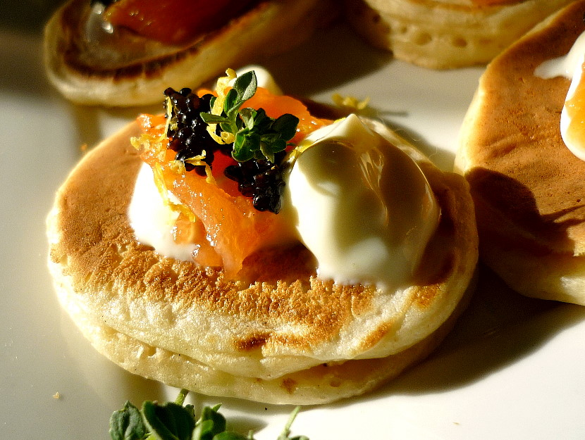 Blinis with Smoked Salmon, Sour Cream and Caviar