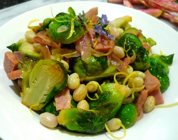 Brussel Sprouts with Borlotti Beans and Speck