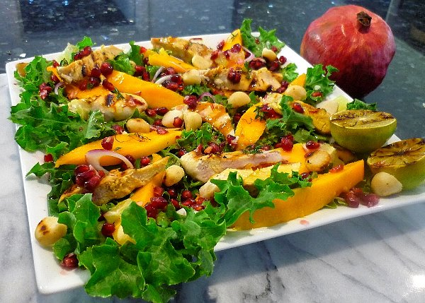 Mango Chicken & Pomegranate Salad