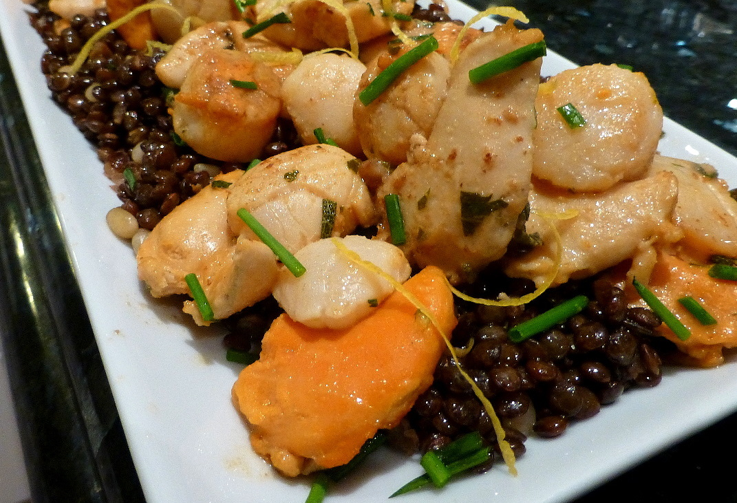Scallops in Brandy Sauce with Puy Lentils