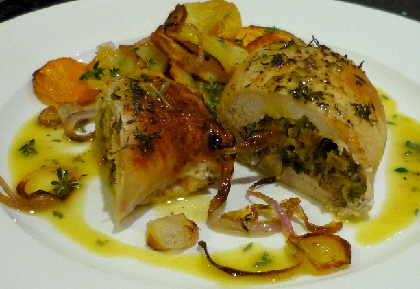 Walnut-stuffed Chicken Breasts with Pear